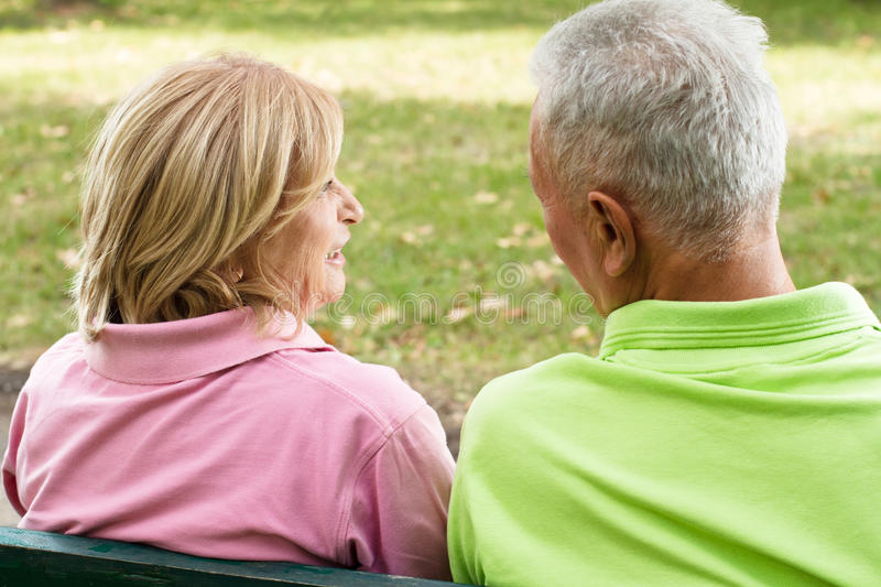 Old couple outdoors royalty free stock photography