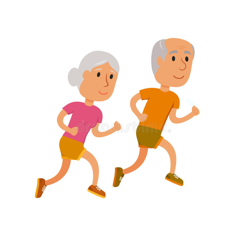 Old couple run vector illustration