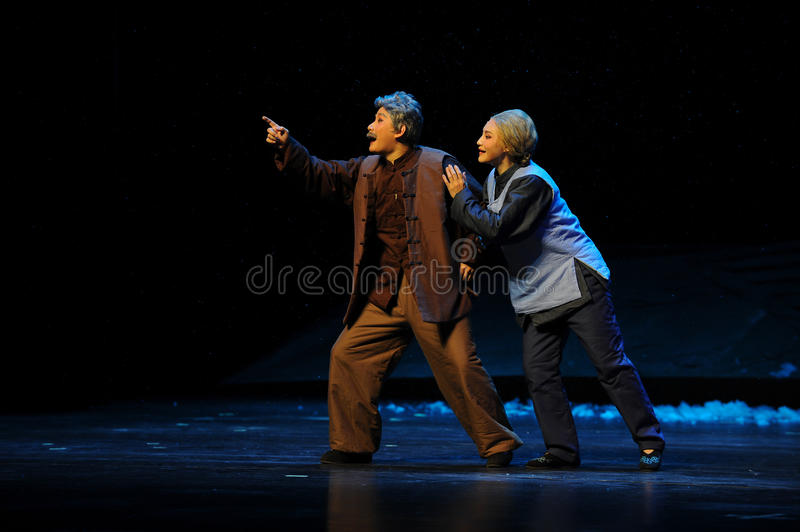 The old couple's expectations- Jiangxi opera a steelyard. Jiangxi opera a steelyard is adapted from a true story: the last century fortys, the protagonists stock photo