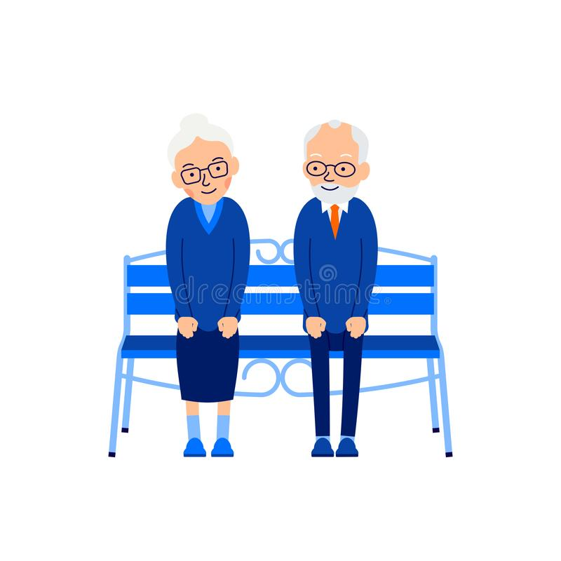 Free Old Couple Sit On Bench. An Elderly Man Sits On Bench And Smilin Stock Photos - 126531393