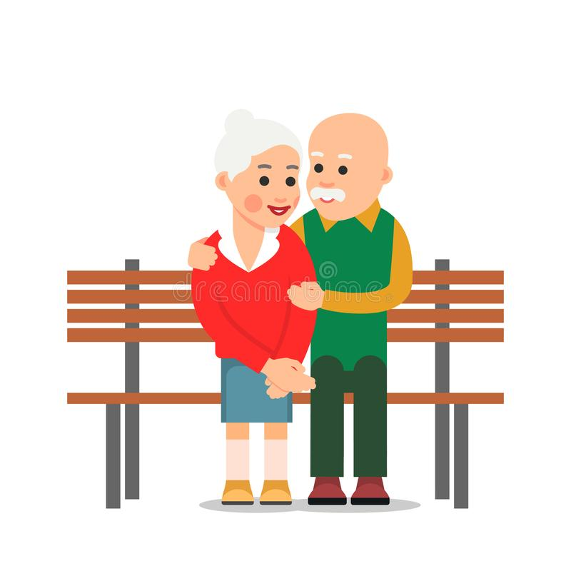 Free Old Couple Sit On Bench. Elderly Man Hugs The Woman. He Smiling Looking At An Elderly Woman Sitting Next To Him. Illustration Stock Images - 139264184