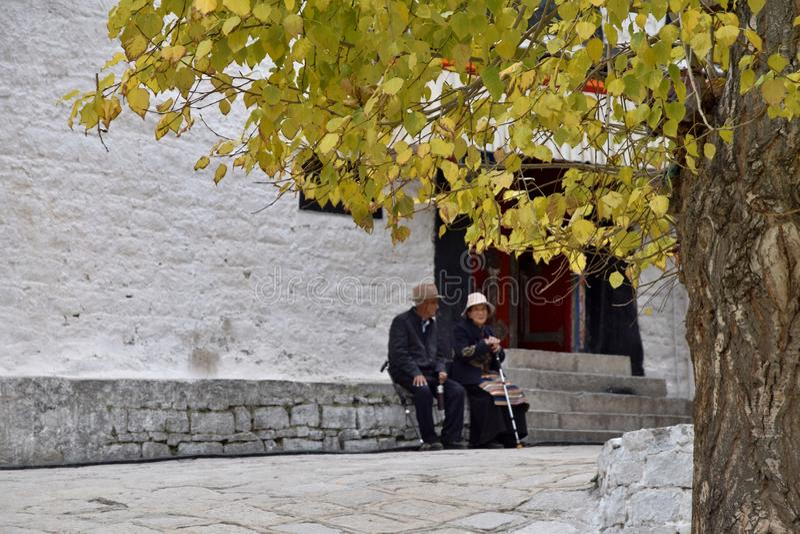 SERA MONASTERY, LHASA, TIBET - CIRCA OCTOBER 2019: One of the great three Gelug university monasteries of Tibet royalty free stock photo
