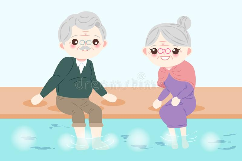 Old couple with foot bath. Old couple smile happily with foot bath royalty free illustration