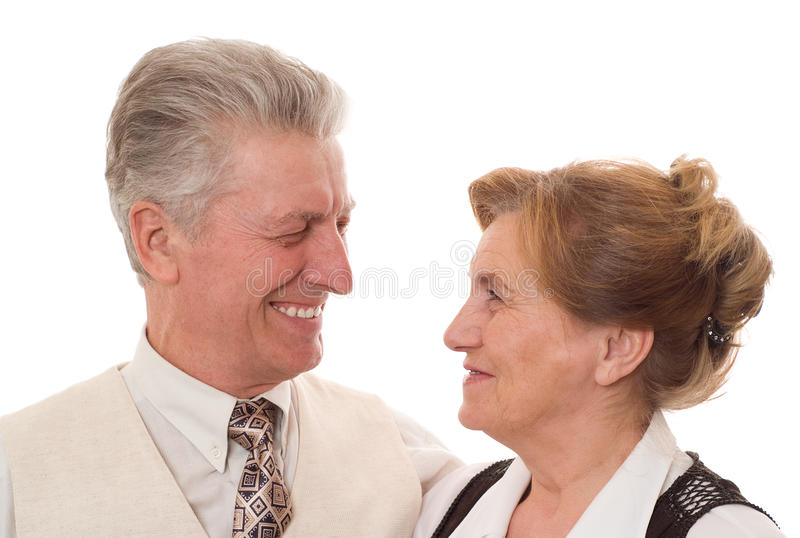 Old couple standing together royalty free stock photography