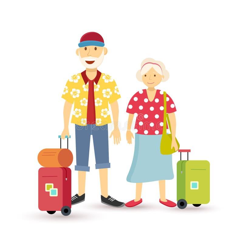 Old couple summer holiday grandparent travel flat royalty free illustration