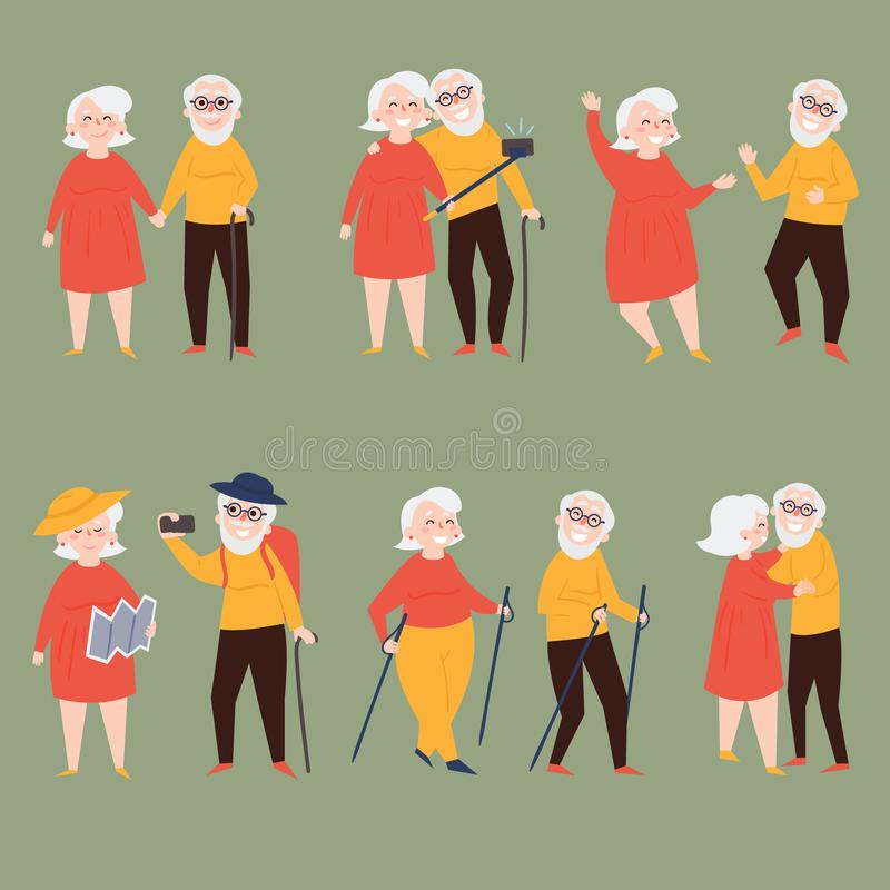 Old couple travel together and make photo selfies vector illustration