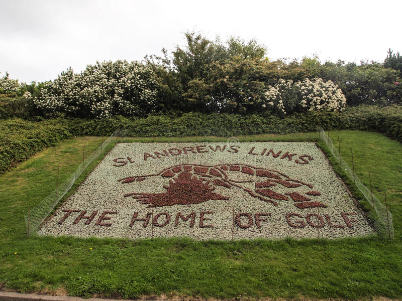 Old Course golf course St Andrews Links. The signage at St Andrews Links of the Old Course golf course in St. Andrews Scotland. The Home of Golf stock photo