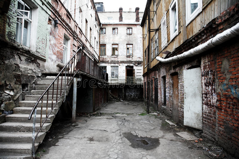 Old court yard. Russia.Vladivostok royalty free stock photography
