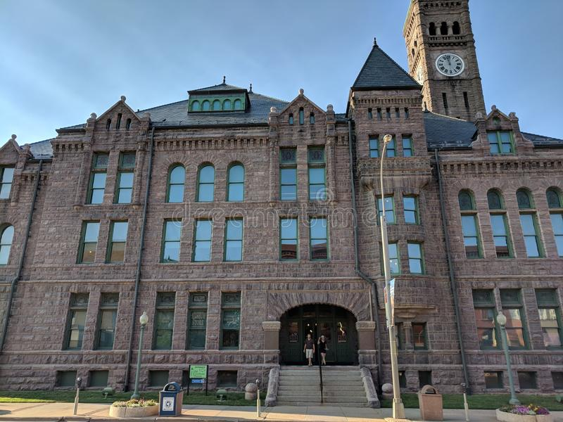 Old Courthouse Museum at Sioux Falls Heritage Museum. The Old Courthouse Museum at the Sioux Falls Heritage Museum used to be the Sioux Falls courthouse. The royalty free stock photo
