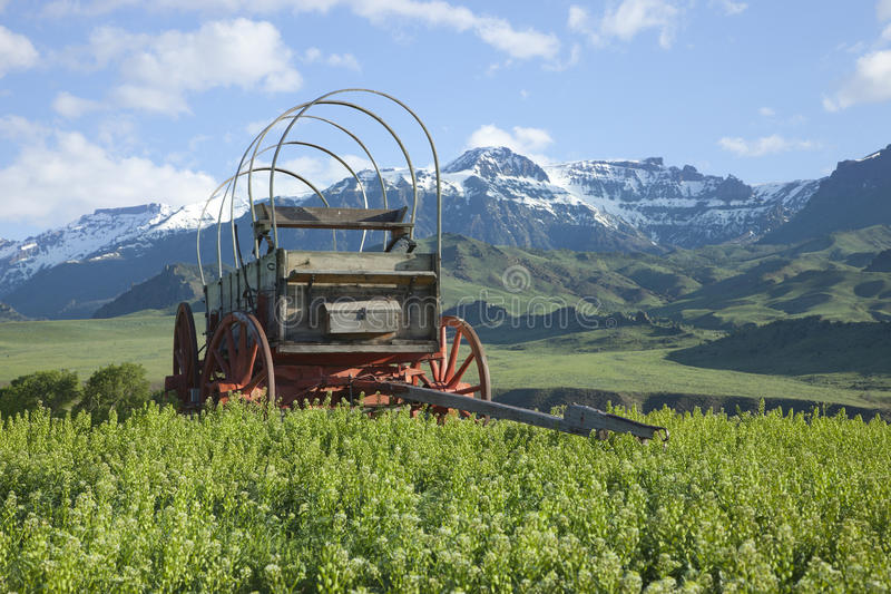 Old covered wagon in the Absaroka Mountains of Wyoming royalty free stock photo