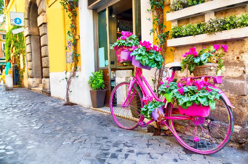 Old cozy street in Trastevere, Rome, Italy with a purple bicycle.  royalty free stock photos