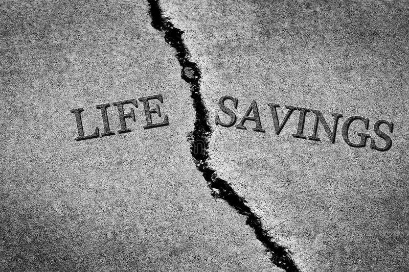Old Cracked Sidewalk Cement Dangerous Broken Life Savings lost. Old cracked sidewalk broken and dangerous cement Life Savings poor poverty stock image