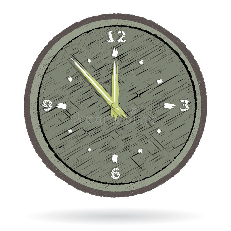Old Cracked Surface Clock Stock Photo