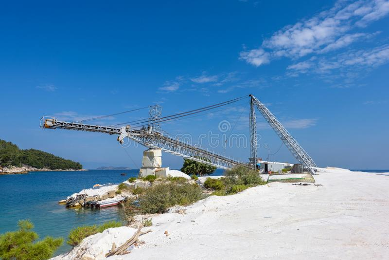 Old Crane near Marble Beach and Quarry stock photo
