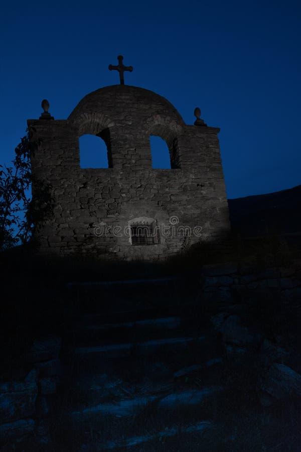 Old creepy abandoned church. Mystery night scene royalty free stock photos