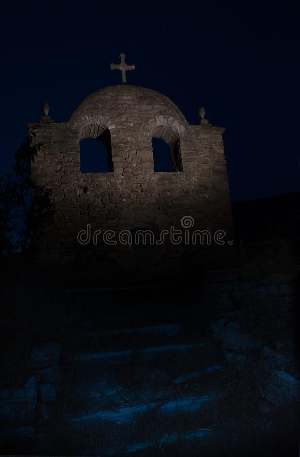 Old creepy abandoned church. Night photography royalty free stock image