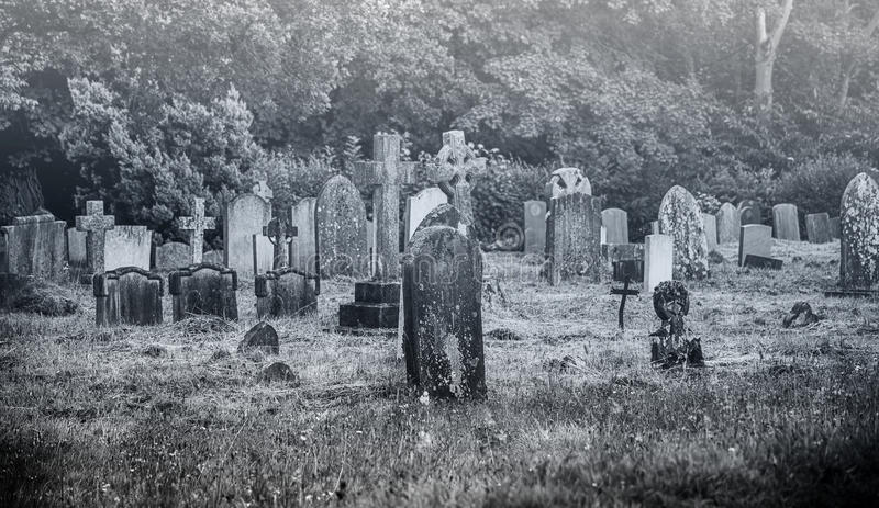 Old creepy cemetery. Black and white image of an old creepy cemetery royalty free stock image