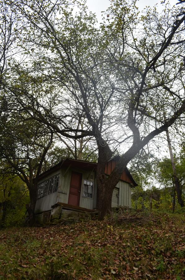 Old creepy house. With grya sku autumn october royalty free stock photos