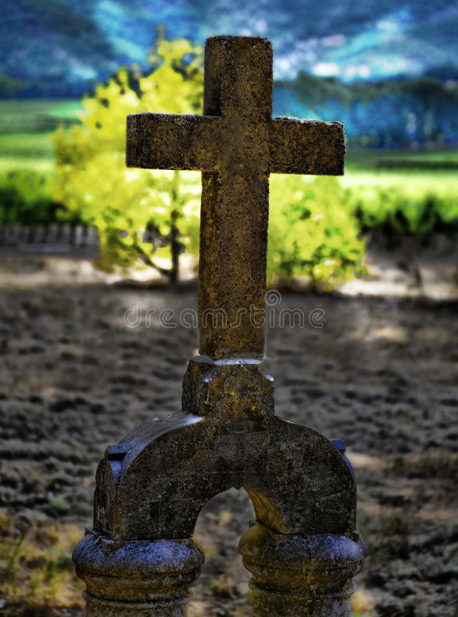 Old Cross Headstone HDR Stock Image