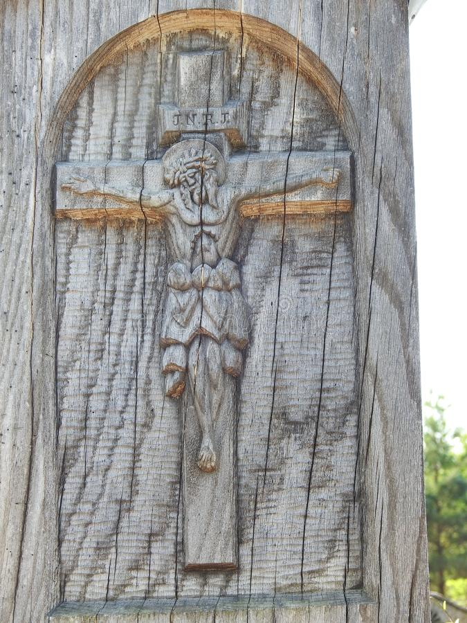 Jesus Christ on wooden cross, Lithuania royalty free stock photos