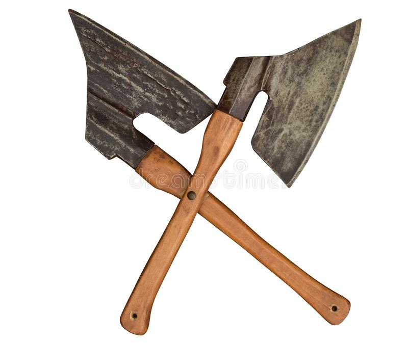 Axes ax knife crossed butcher craftmanship meat. Old crossed axes in front white isolated stock images