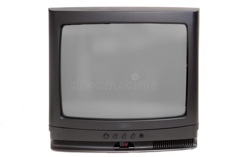 Old CRT TV. Isolated on white royalty free stock image