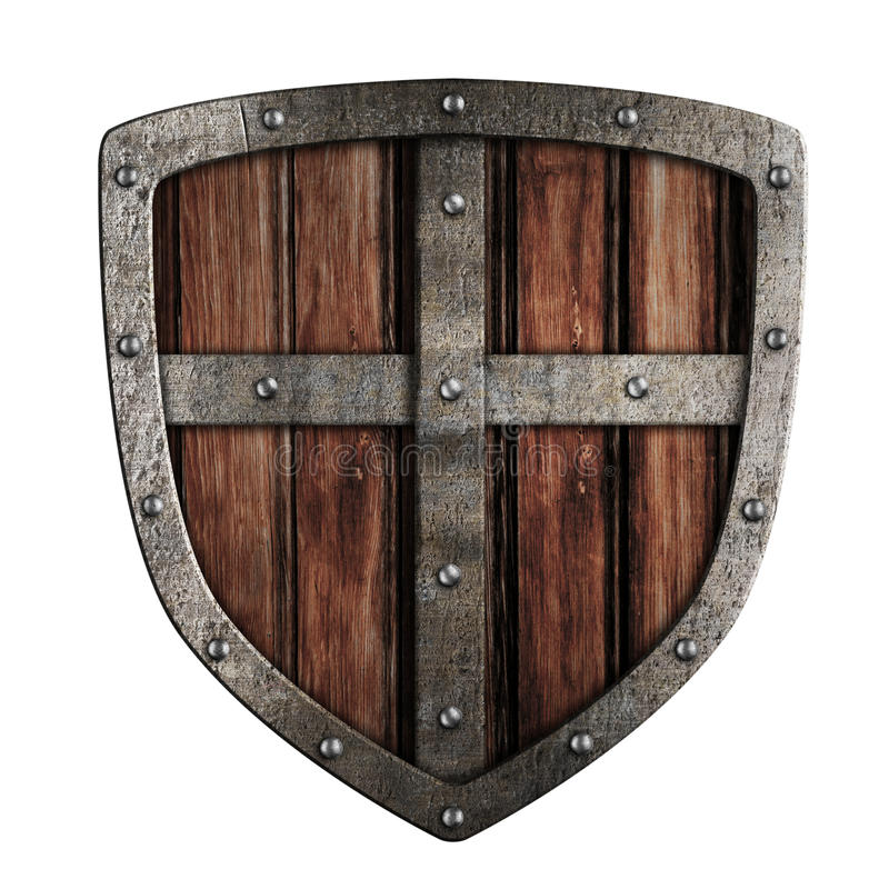 Old crusader wooden shield illustration isolated. On white royalty free stock images