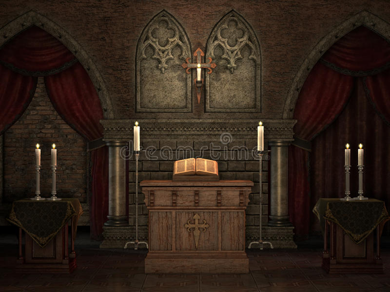 Old crypt with candles. Gothic crypt with an altar, book, candles and red curtains vector illustration