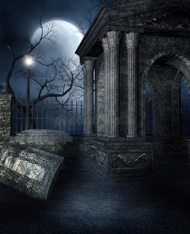 Old crypt in a gothic graveyard royalty free illustration