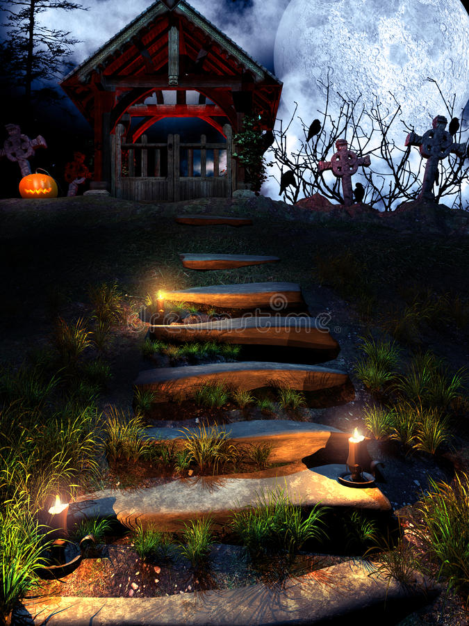 Old crypt in the halloween night. Halloween scene with crypt.pumpkin and candles vector illustration