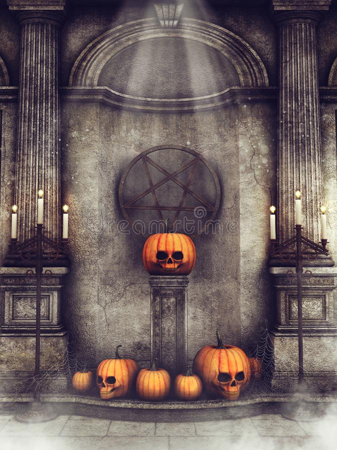 Old crypt with Halloween pumpkins. Old spooky crypt with columns, candles and Halloween pumpkins at night stock illustration