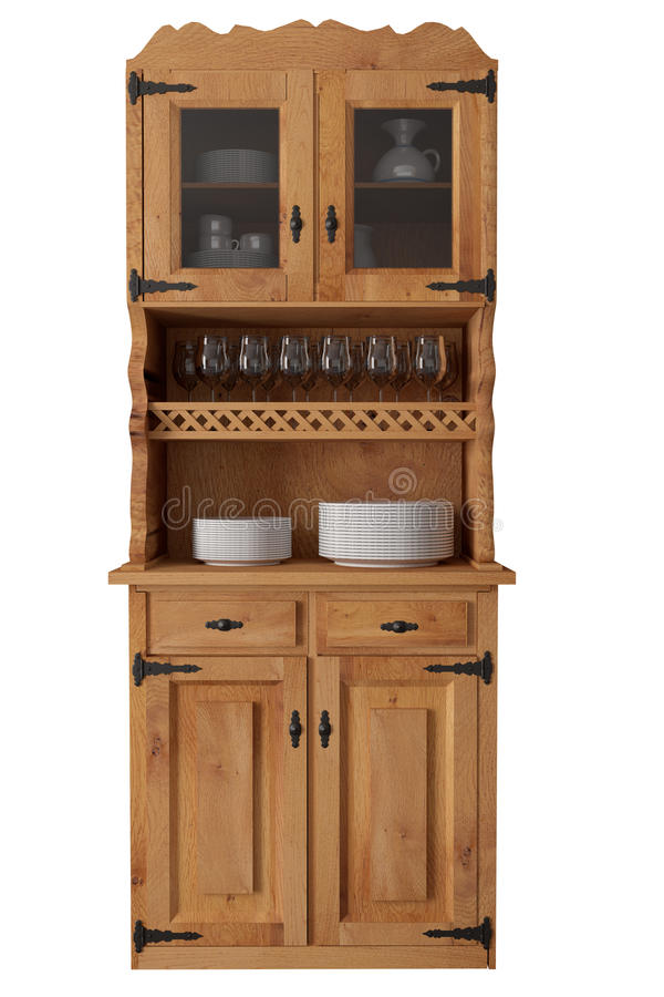 Old cupboard. 3d rendering of an old wooden cupboard royalty free illustration
