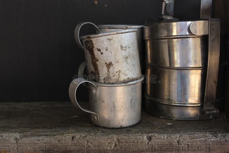 An old cups. Aluminium cups. royalty free stock photo