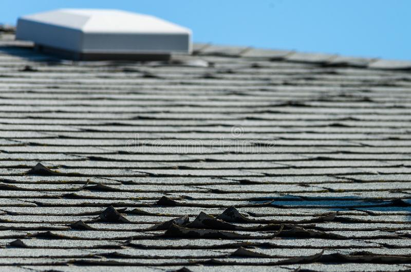 Old roof shingles stock images