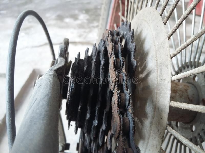 Old Cycle cassette and chain. Picture of cycle old chain and cassette stock image