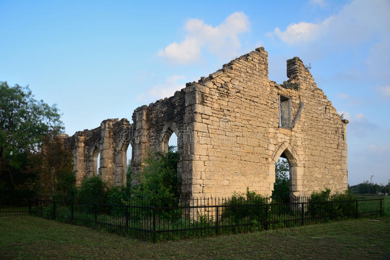 Old D'Hanis Church Ruins. The ruins are the only left of the community church stock image