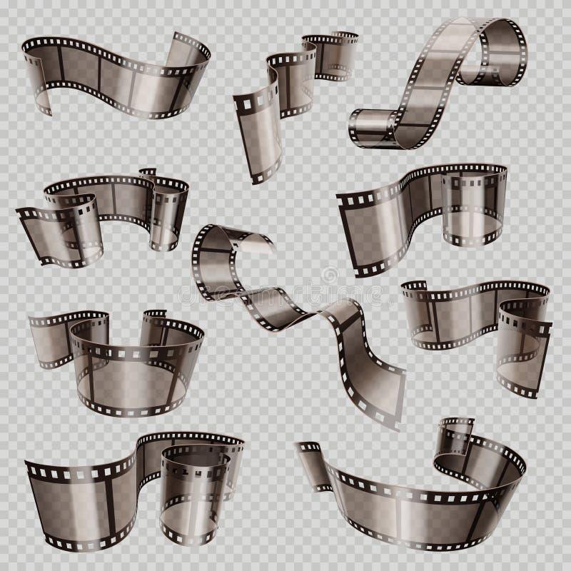 Old 3d movie film strip, foto slide isolated on transparent background vector set. Cinema film strip wave, photography tape strip illustration royalty free illustration