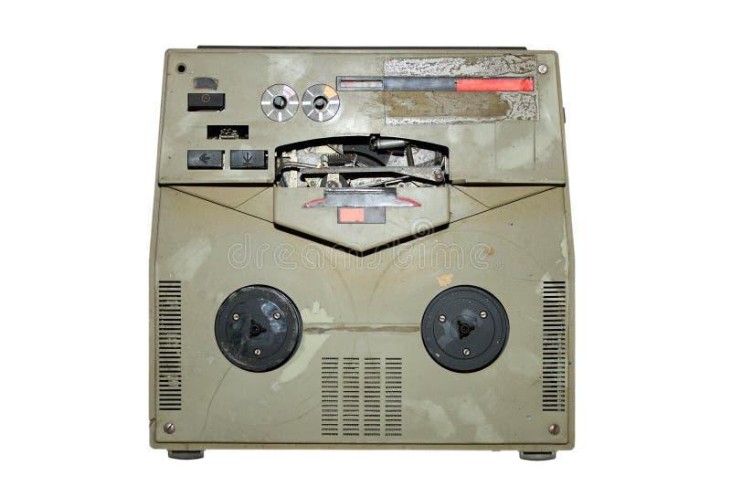 Old damaged analog recorder. Isolated over white background royalty free stock photos