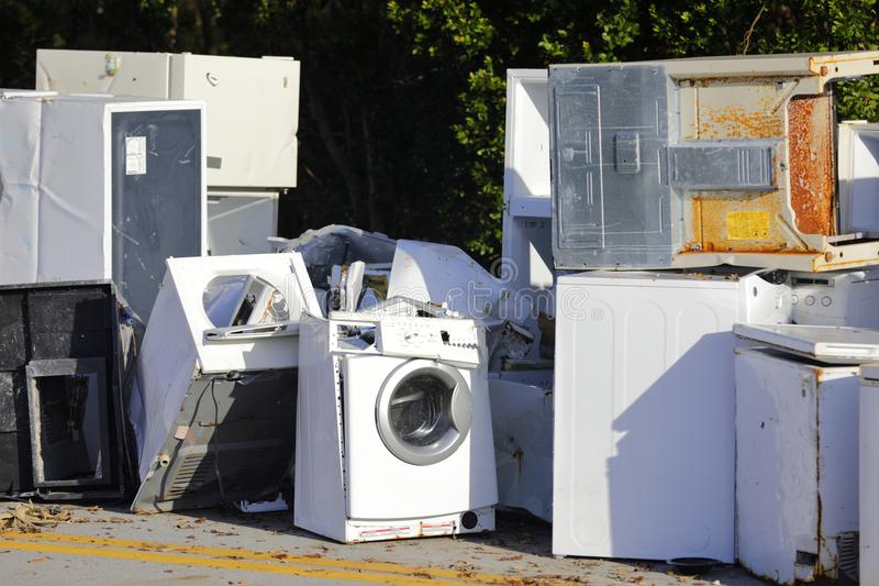Old damaged appliances in the Florida Keys after Hurricane Irma. Abandoned appliances royalty free stock image