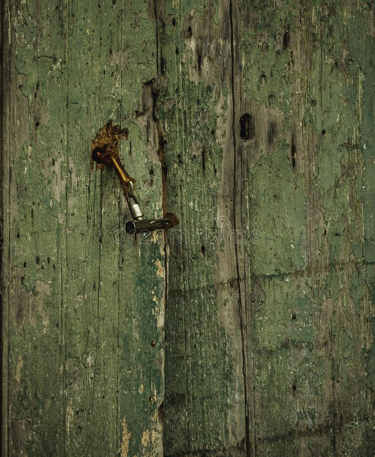 Free Old Damaged Faded Green Wooden Door With A Latch From Sicily Stock Image - 131203531
