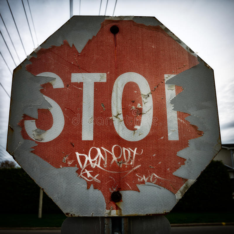 Download Old Damaged And Peeling Stop Sign Stock Photo - Image: 24763868