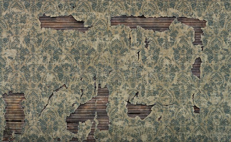 Old damaged vintage wallpaper wall background. Damaged vintage wallpaper wall background royalty free stock image
