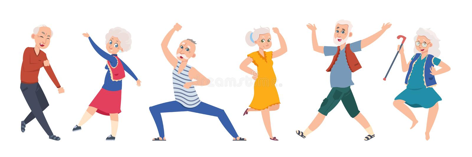 Old dancing people. Cartoon happy older characters, group of senior age persons having good time. Vector flat funny. Old dancing people. Cartoon happy older royalty free illustration