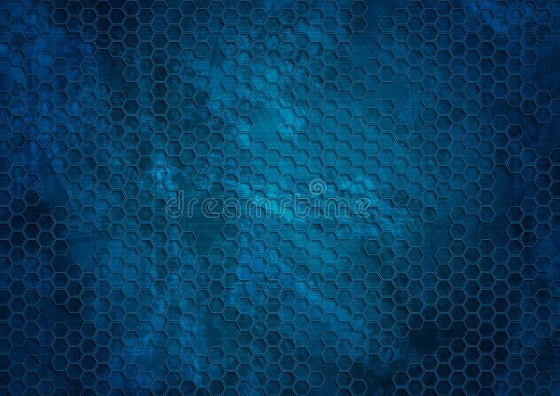 Old dark blue grunge hexagons texture background. Vector design illustration royalty free illustration