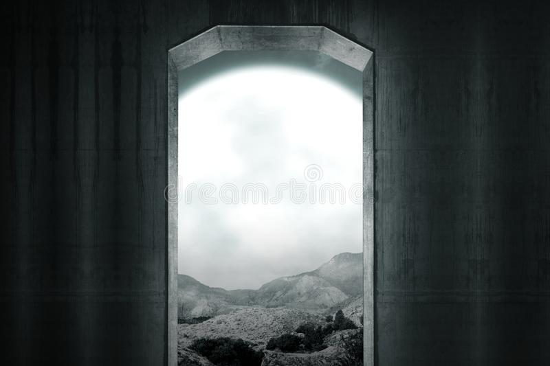 Old dark gate opening to the spooky place. Halloween background royalty free stock photo