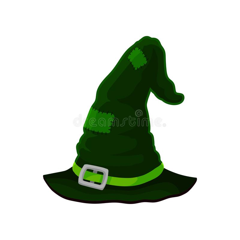 Old dark green wizard hat in patches. Vector illustration on white background. vector illustration
