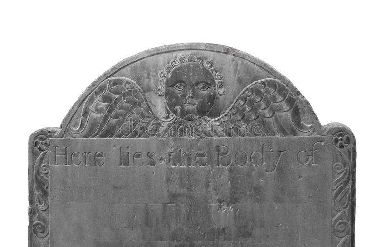 Old Dark Headstone Isolated. Royalty Free Stock Images