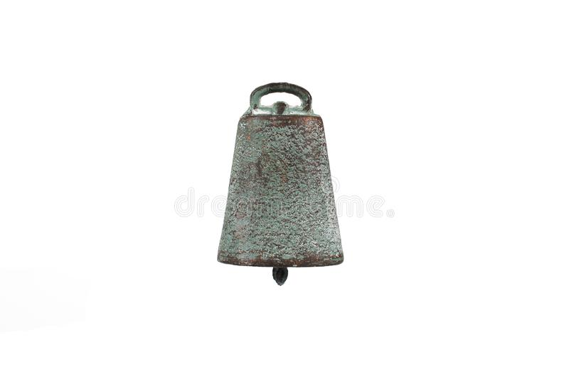 Old dark metal cow bell isolated white background stock image
