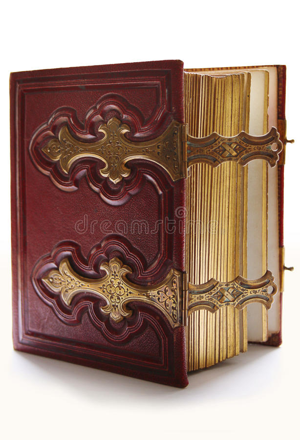 Old dark red antique book stock photo