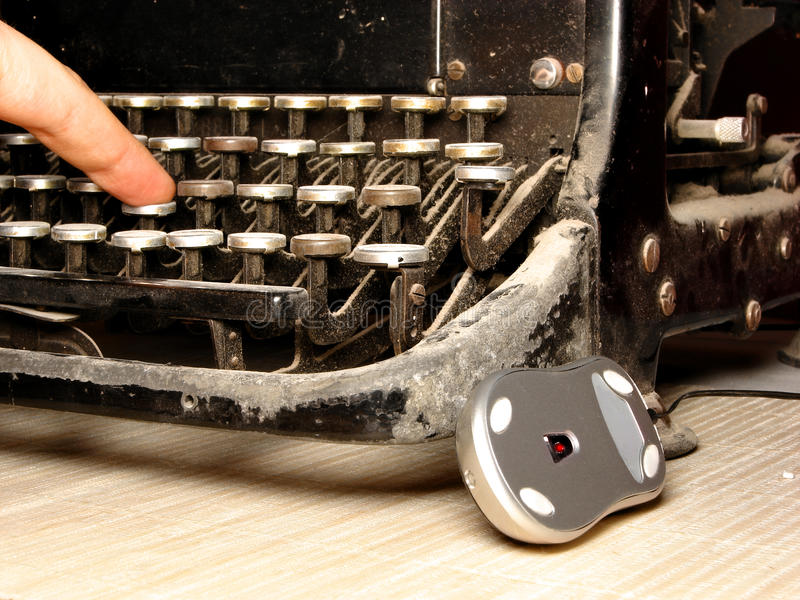 Download Old Dark Typewriter With Modern Mouse Stock Photo - Image: 16895662